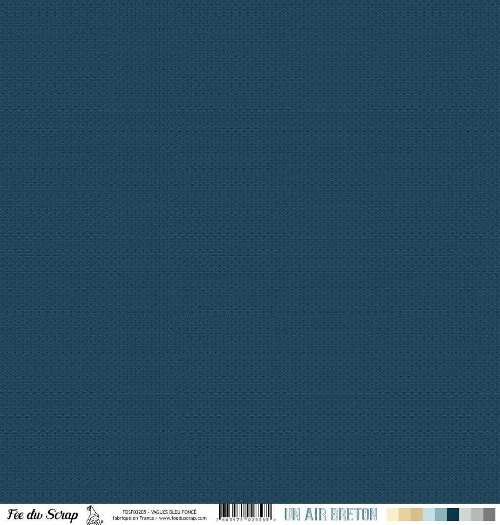 Feuille un air breton - vagues bleu foncé
