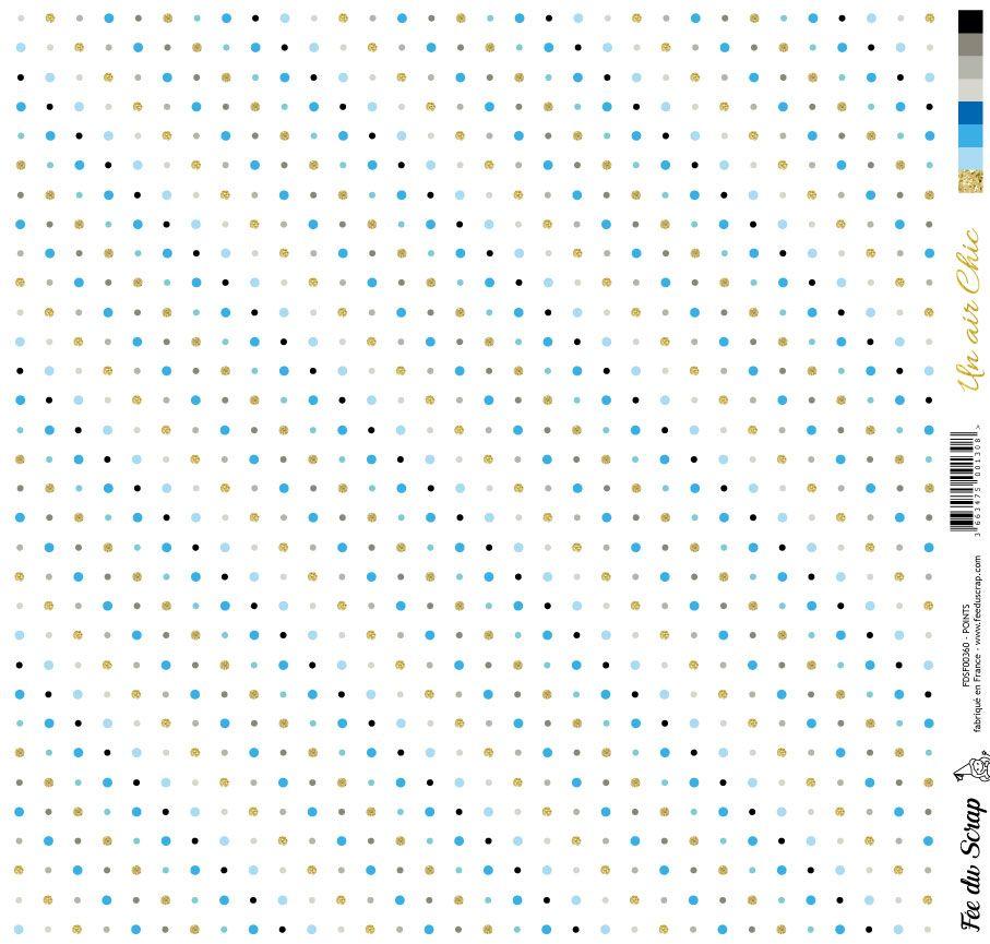 feuille Un air Chic bleu points