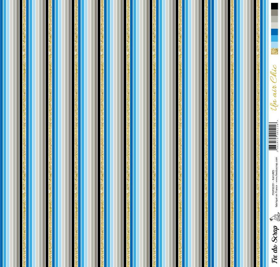 feuille Un air Chic bleu rayures