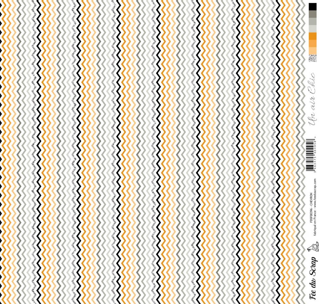 feuille Un air Chic orange chevrons