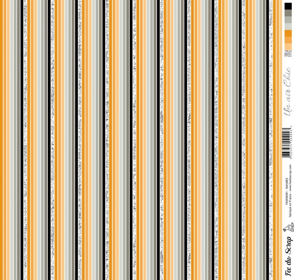 feuille Un air Chic orange rayures