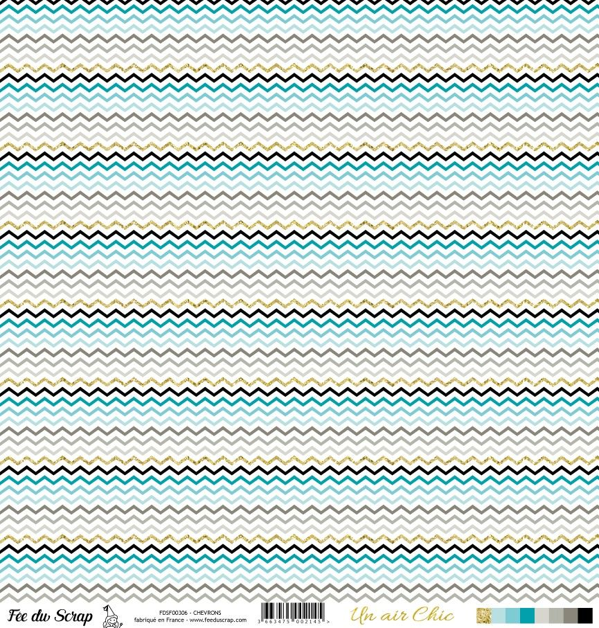 feuille Un air Chic turquoise chevrons