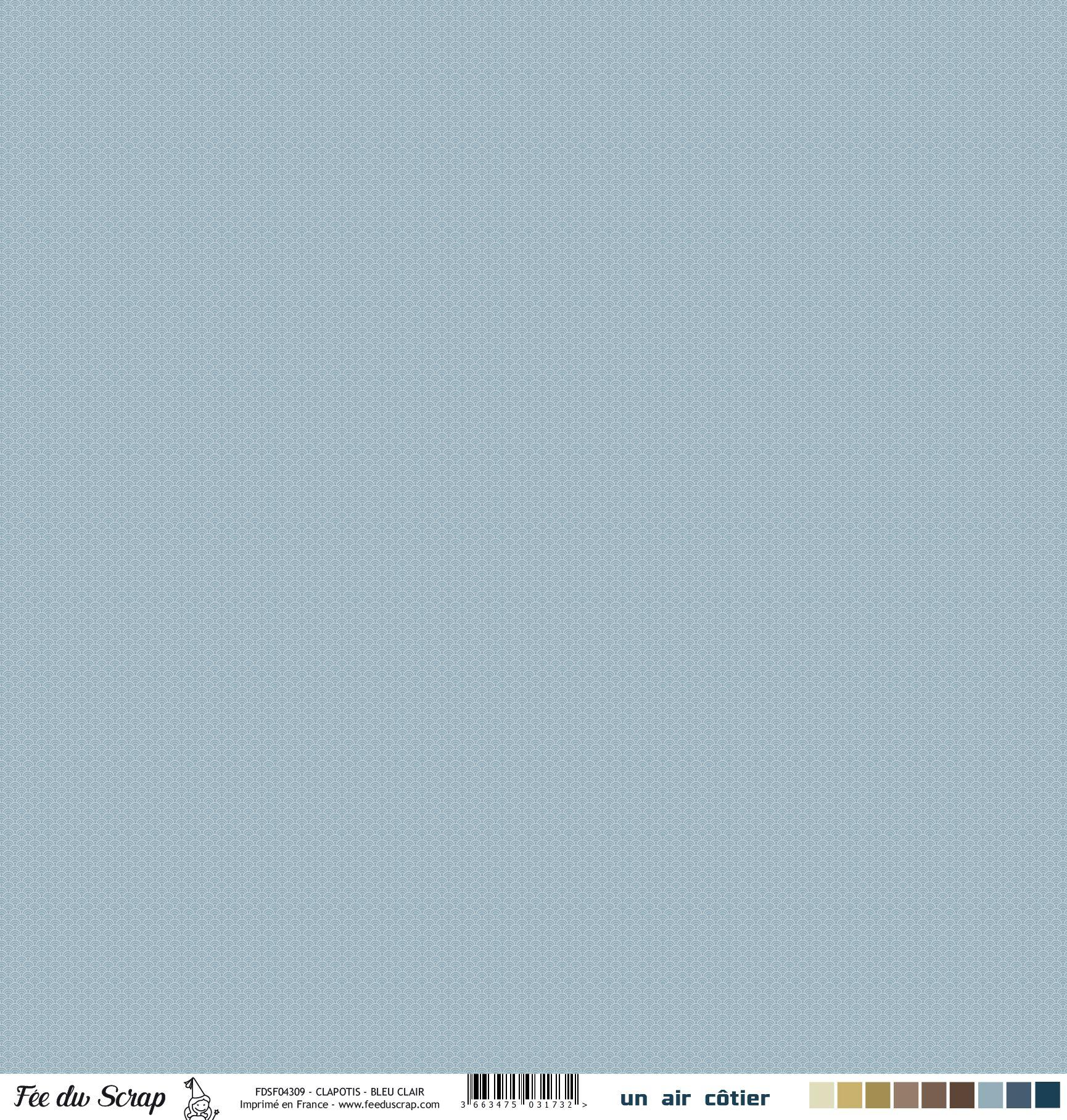 Feuille un air côtier - Clapotis bleu clair
