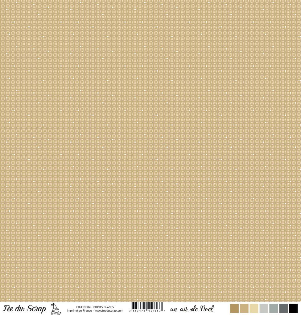feuille un air de noel beige points blancs