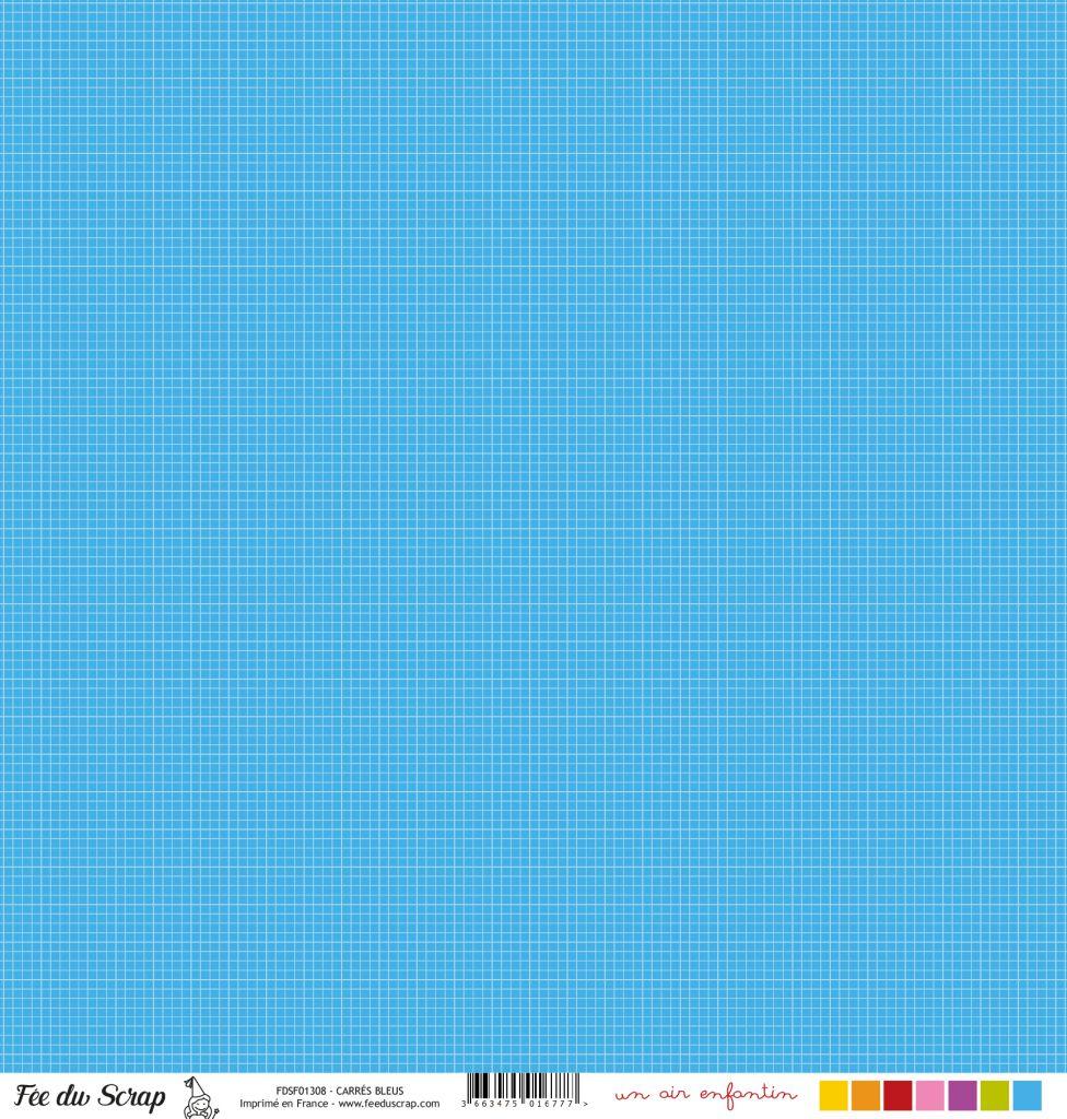 feuille un air enfantin carrés bleus
