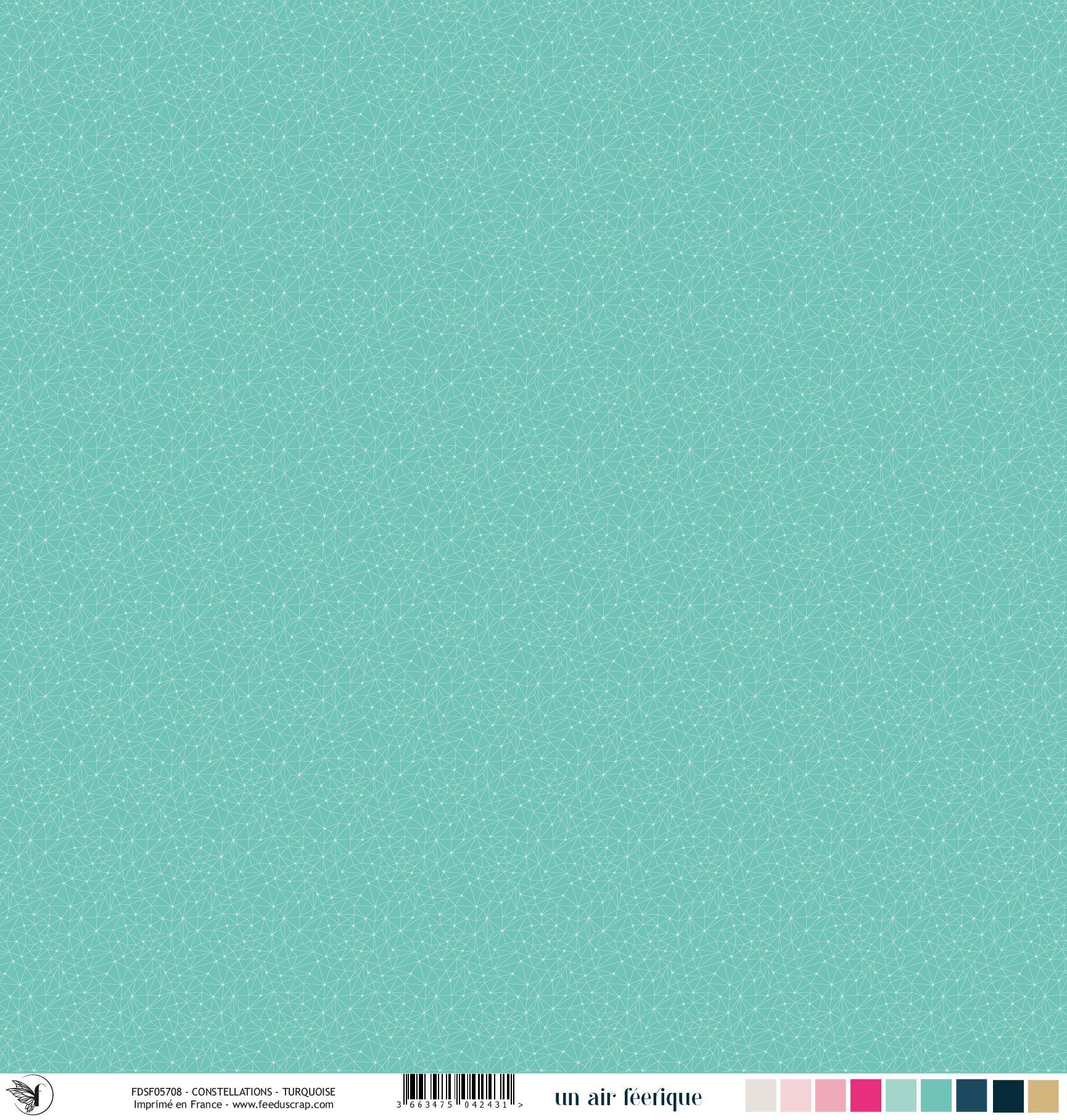 Feuille un air féérique - constellation - turquoise