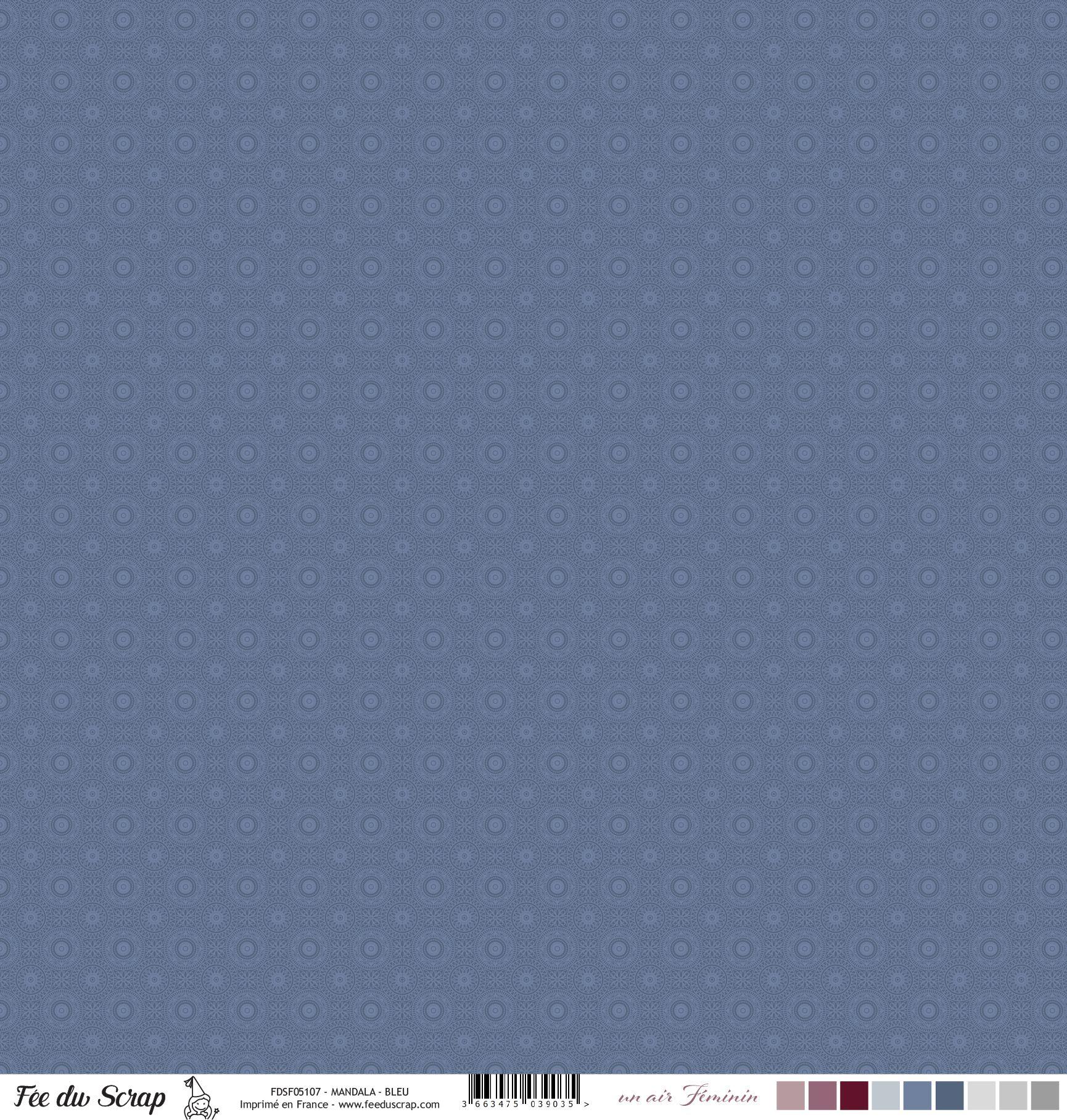 Feuille un air féminin - Mandala - Bleu
