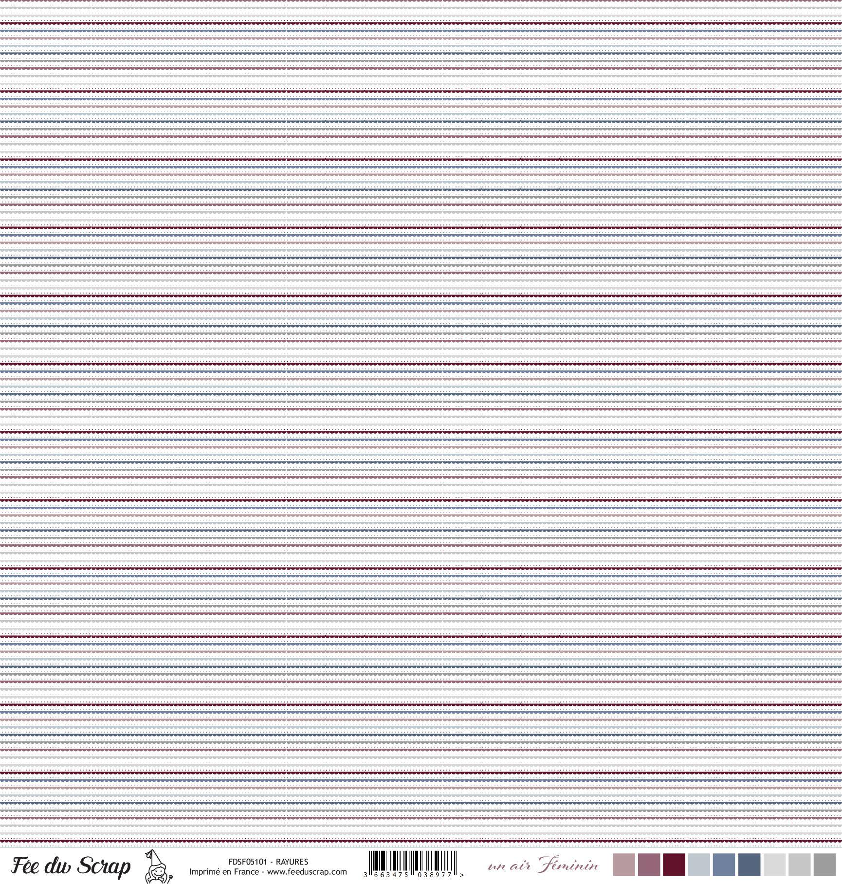 Feuille un air féminin - Rayures - Multicolore