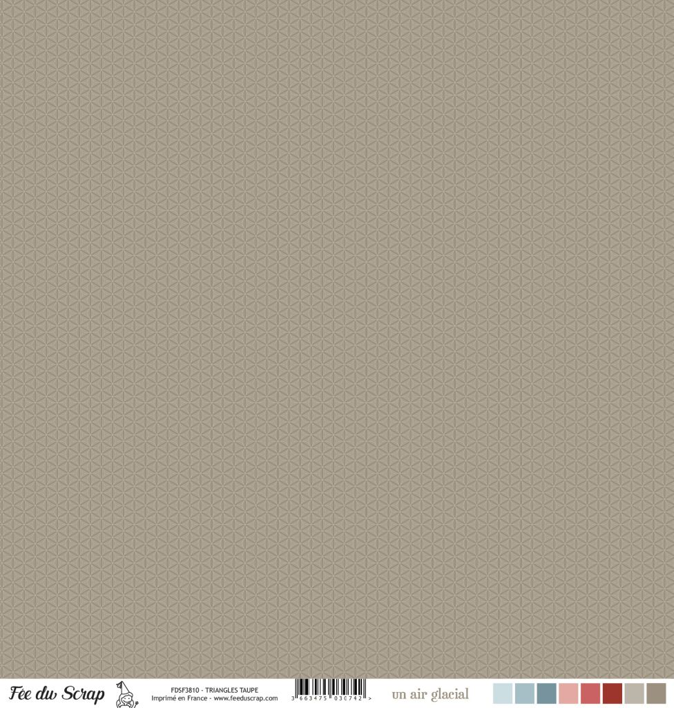 Feuille un air glacial - Triangles taupe