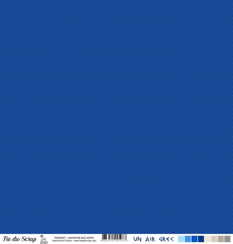 Feuille un air grec - frises bleu foncé