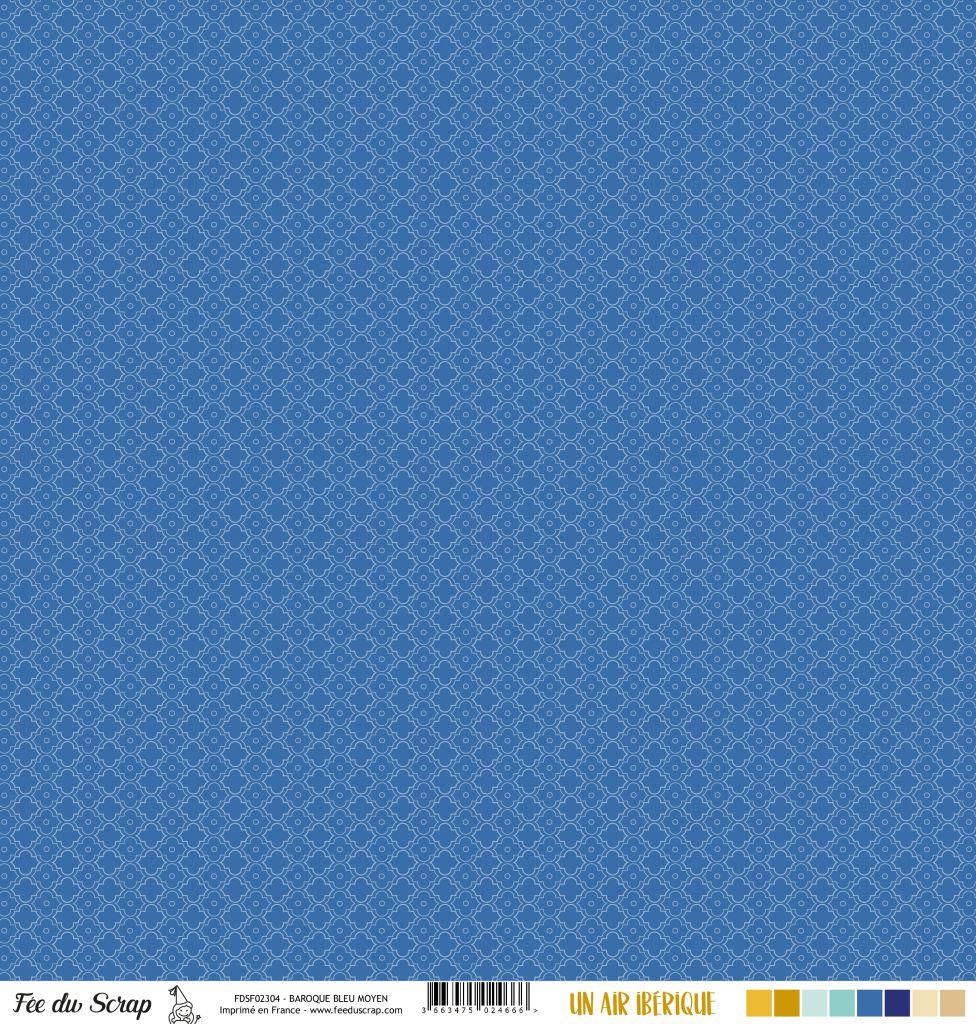 Feuille un air ibérique - baroque bleu moyen