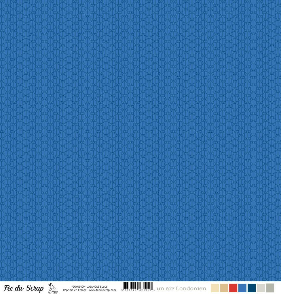 Feuille un air londonien - losanges bleu