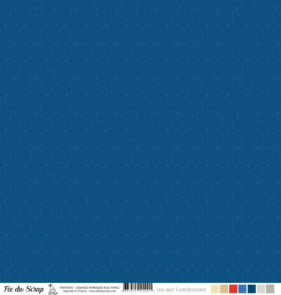 Feuille un air londonien - losanges nordiques bleu foncé