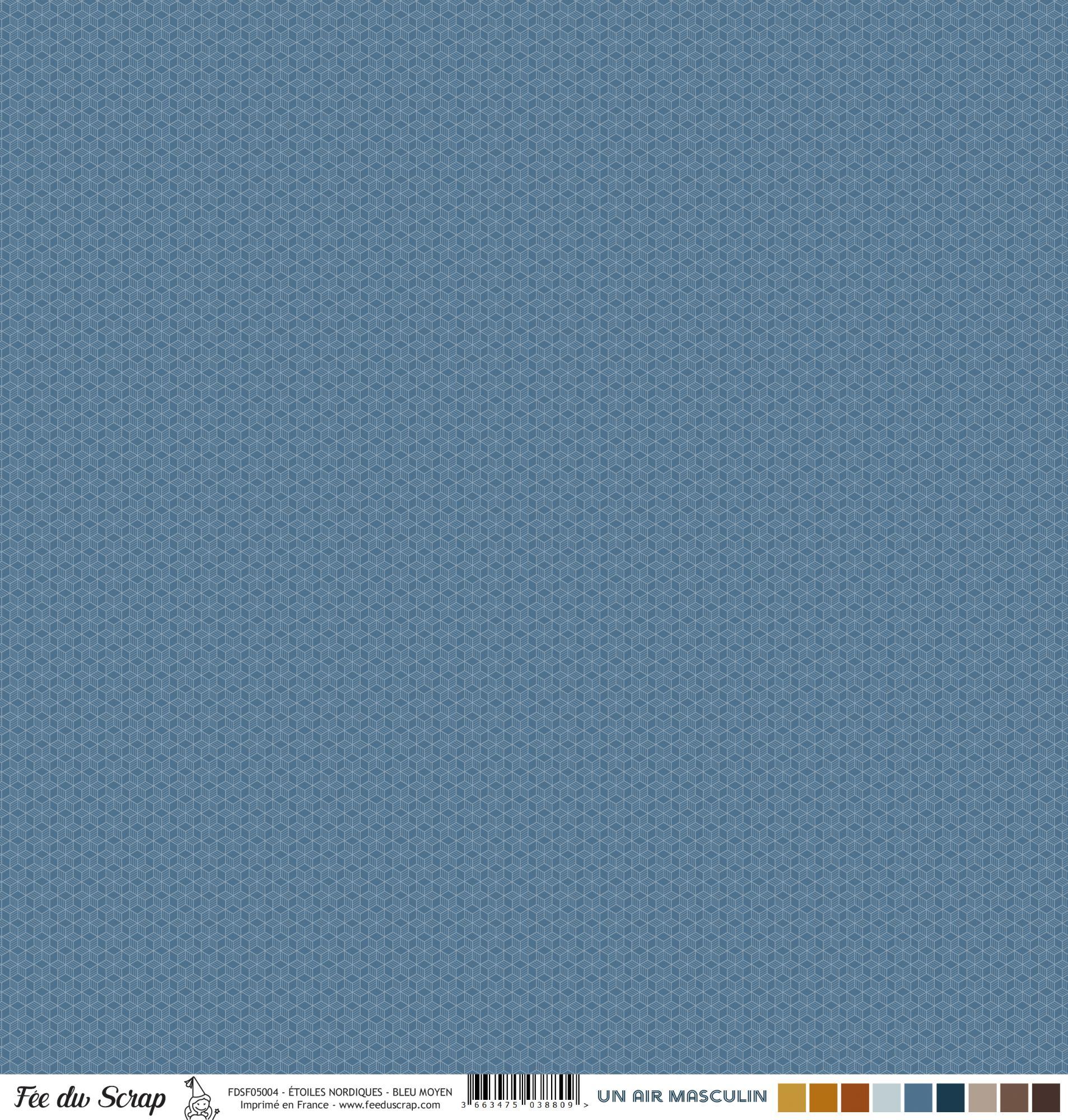 Feuille un air masculin - Etoiles nordiques - Bleu moyen
