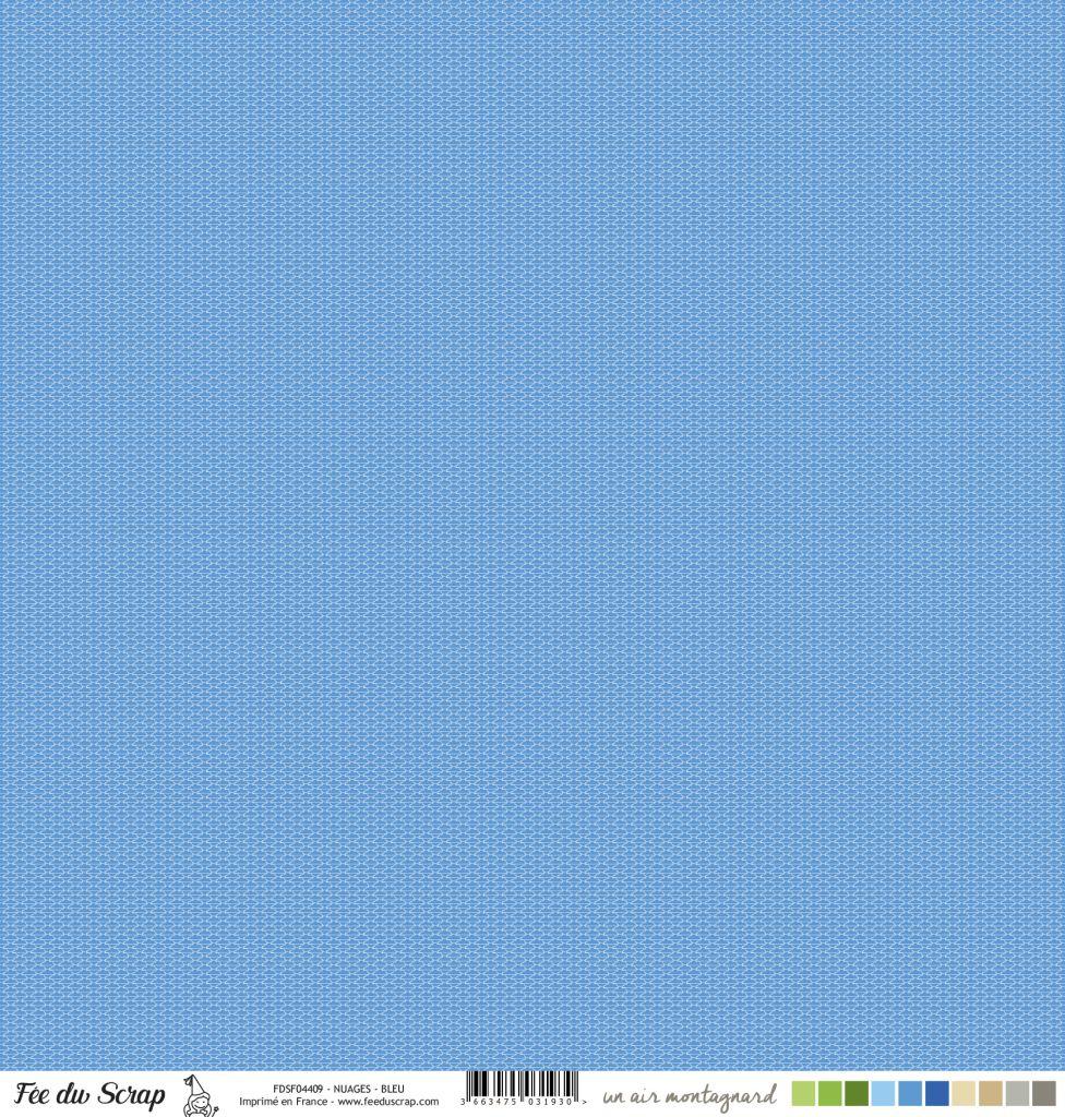 Feuille un air montagnard - Nuages bleu