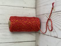 FICELLE BICOLORE TWINE ROUGE / OR