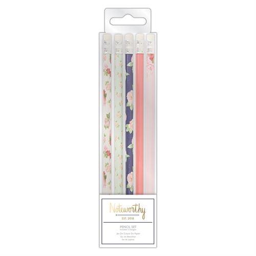 Jeu De Crayons De Papier (5pcs) - Graphic Florals