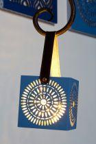 LANTERNE BLUE ETHNIC ROSACE 10X10 CM