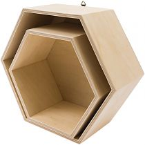 LOT DE 2 ETAGERES EN BOIS HEXAGONALES