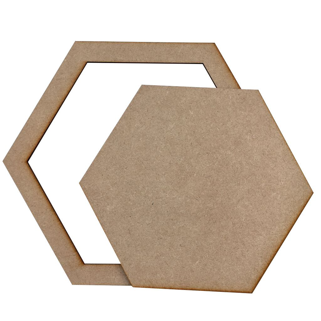 LOT DE 2 HEXAGONES MDF 3 MM