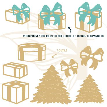 LOT DE 7 DIES cadeaux et sapins de noel
