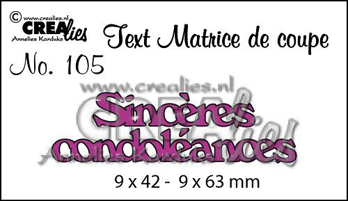 Matrice de coupe texte no. 105 Sincères condoléances