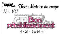 Matrice de coupe texte no. 107 Bon rétablissement