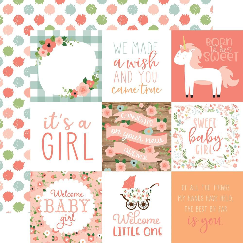 "PAPIER IMPRIME BABY GIRL - 4""X4\"" Journaling Cards"