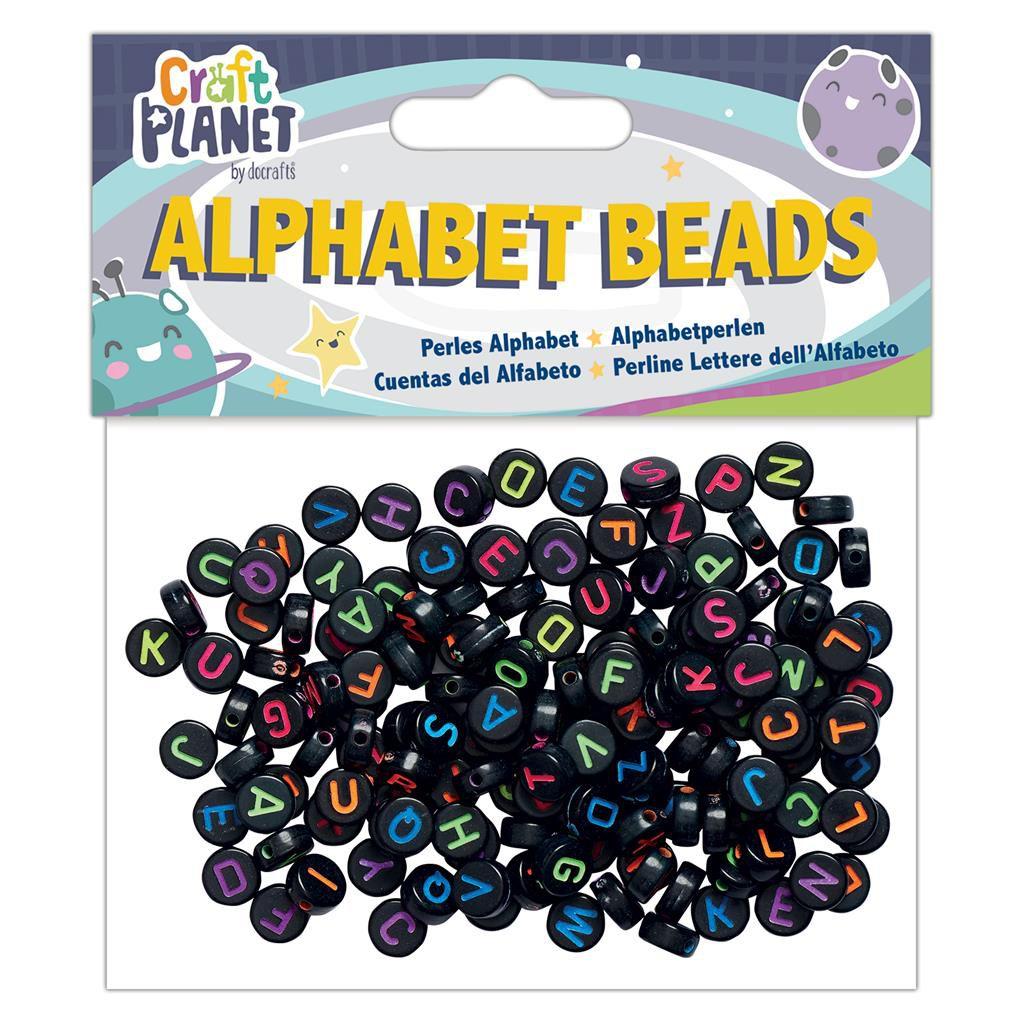PERLES ALPHABET - Noir Ecriture Multicolores