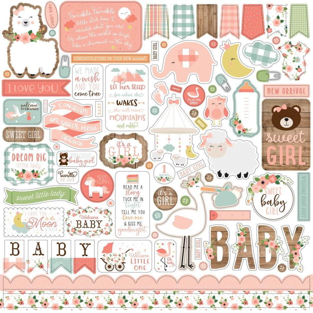 PLANCHE DE STICKERS 30.5 X 30.5 CM - Baby Girl