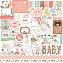 PLANCHE DE STICKERS 30.5 X 30.5 CM - Baby Girl
