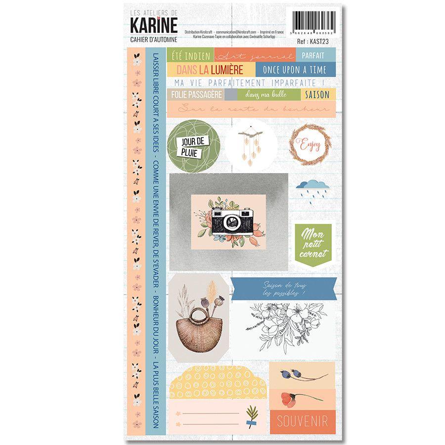 Planche de stickers assortis à la collection Cahier d\'Automne de Karine Cazenave-Tapie
