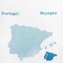 POCHOIR CARTE DE L ESPAGNE ET DU PORTUGAL