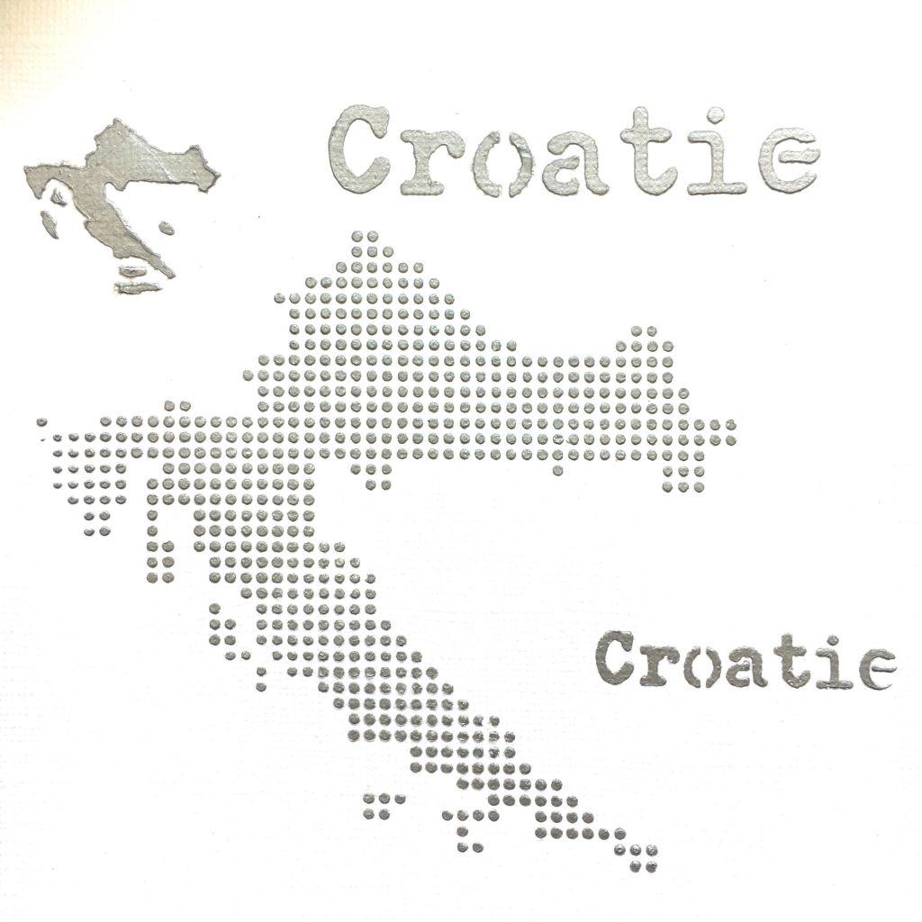 POCHOIR CARTE DE LA CROATIE