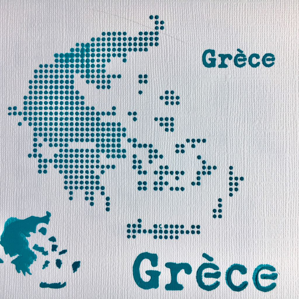 POCHOIR CARTE DE LA GRECE