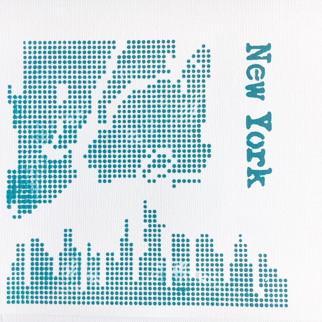 POCHOIR CARTE DE NEW YORK