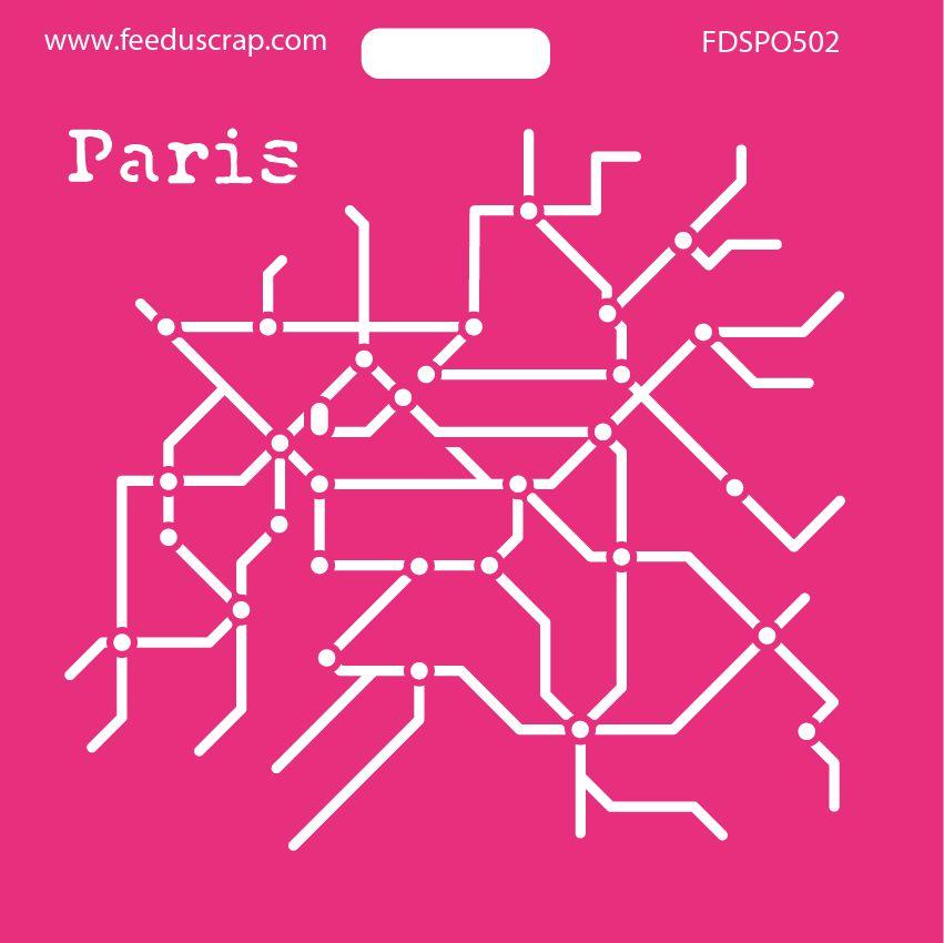 POCHOIR CARTE DU METRO PARIS