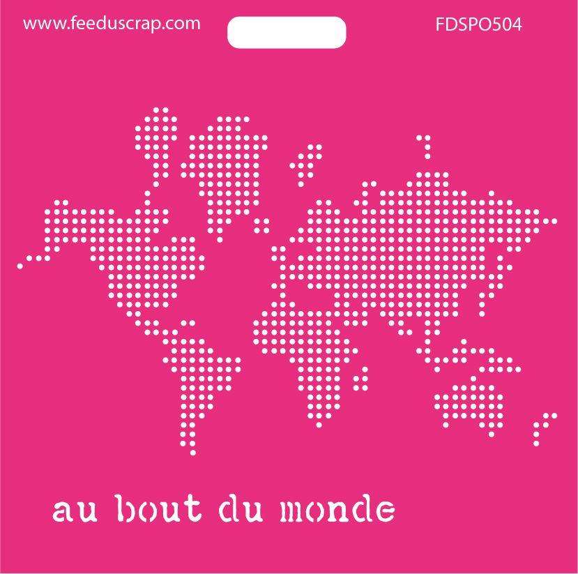 fdspo504 pochoir carte du monde en pois f 233 e du scrap