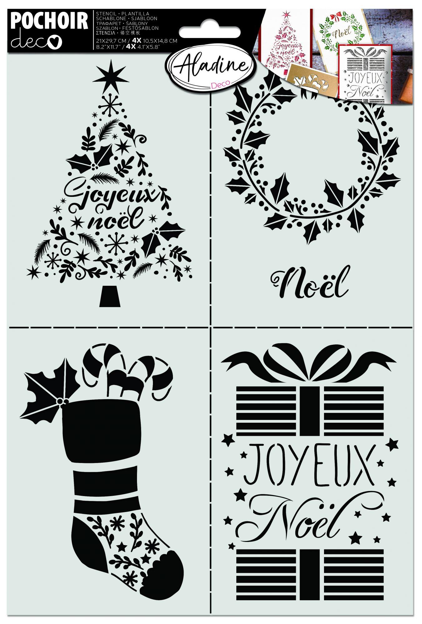 POCHOIR CARTERIE - Dessins Noël A4