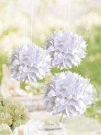 Pompons en papier - Blanc