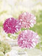 Pompons en papier - Tons roses
