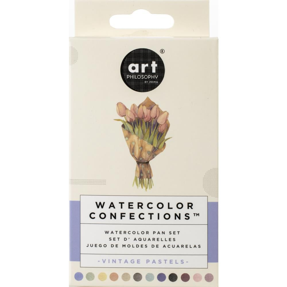 Prima Watercolor Confections Watercolor Pans 12/Pkg Vintage Pastel