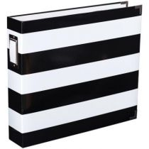 PROJECT LIFE PRINTED CHIPBOARD D-RING ALBUM BLACK & WHITE STRIPE