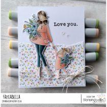 RUBBER STAMP CURVY GIRL HOLDING HANDS