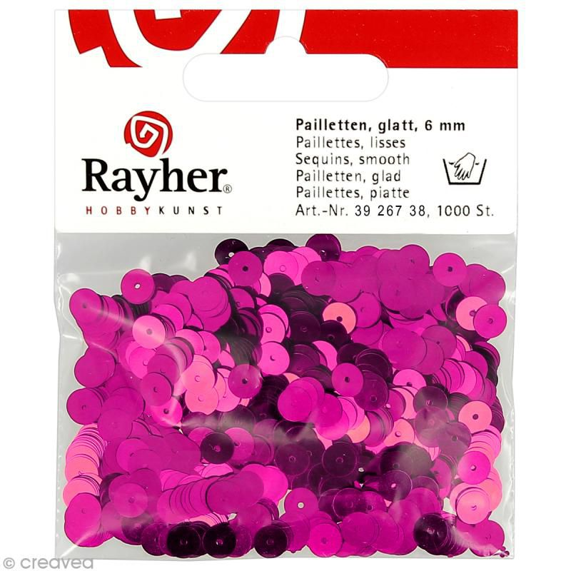 SEQUINS PAILLETTES LISSES 6 MM FUCHSIA