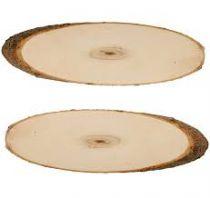 Set 2 rondelles ovales - 34 à 40 cm - bois