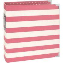 """Sn@p! Designer Binder 6\""""X8\"""" Pink Stripe"""