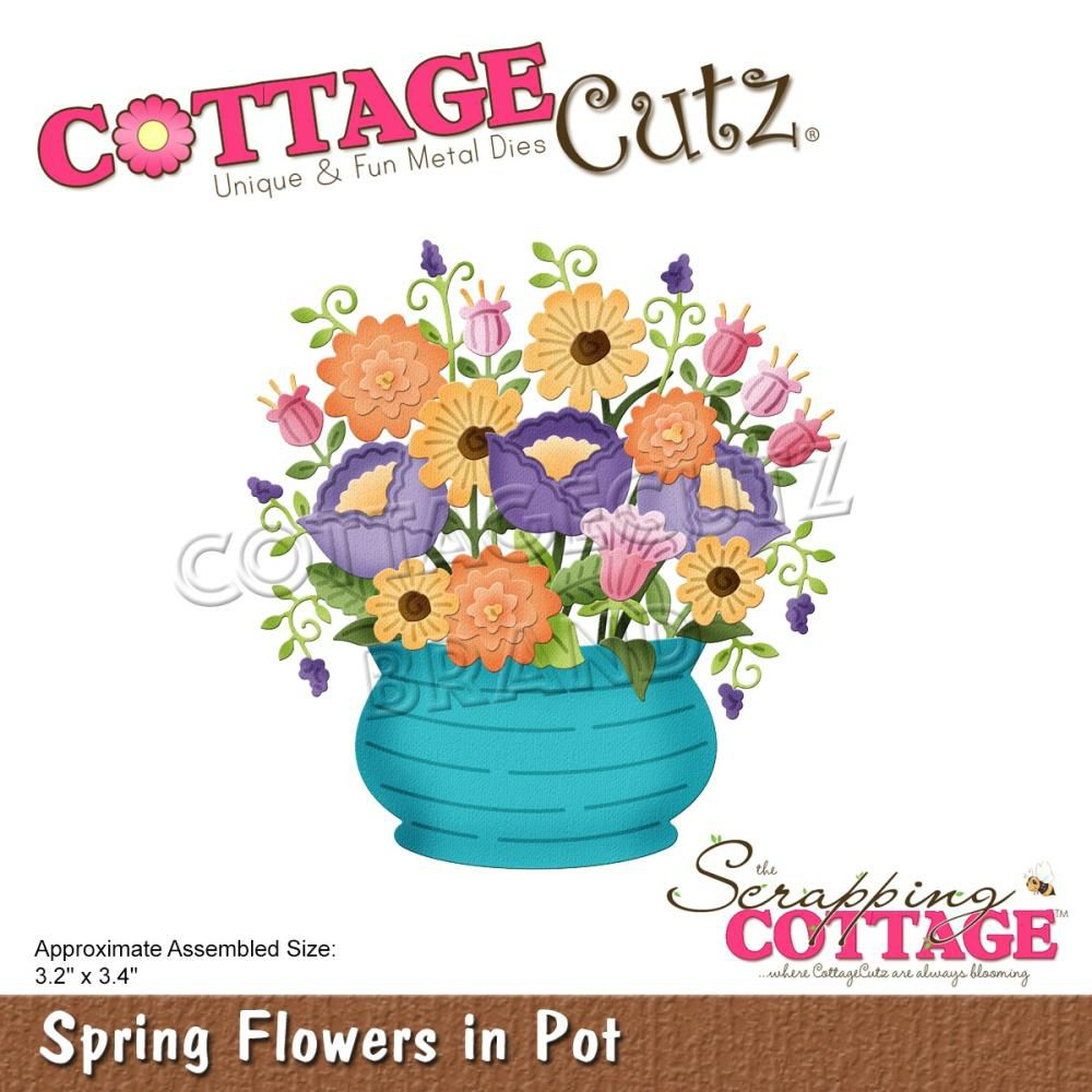 """Spring Flowers In Pot 3.2\""""X3.4\"""""""
