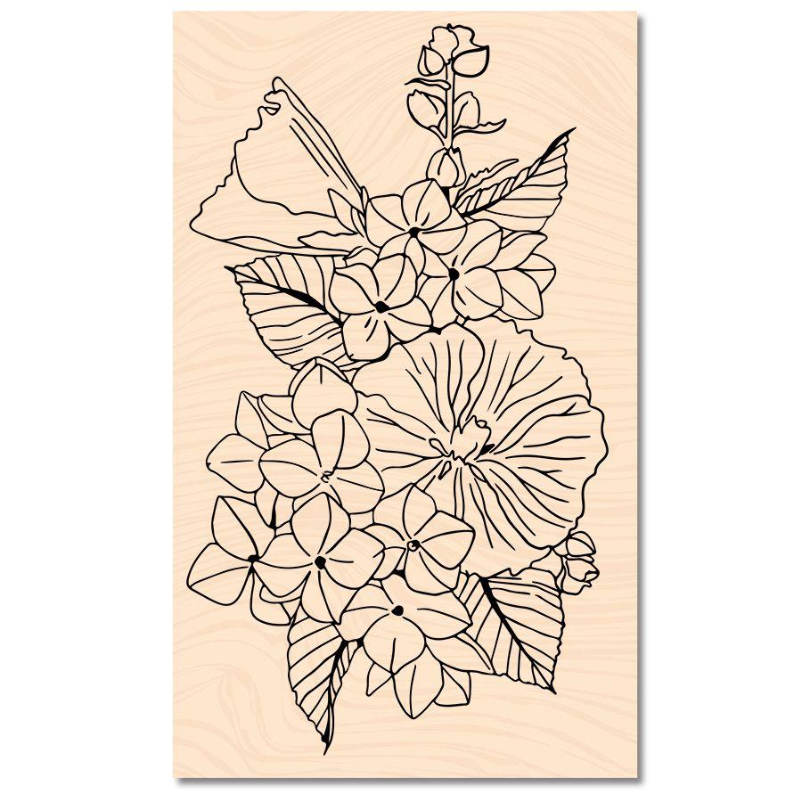 Tampon bois A contre courant Fleurs d\'été -Les Ateliers de Karine
