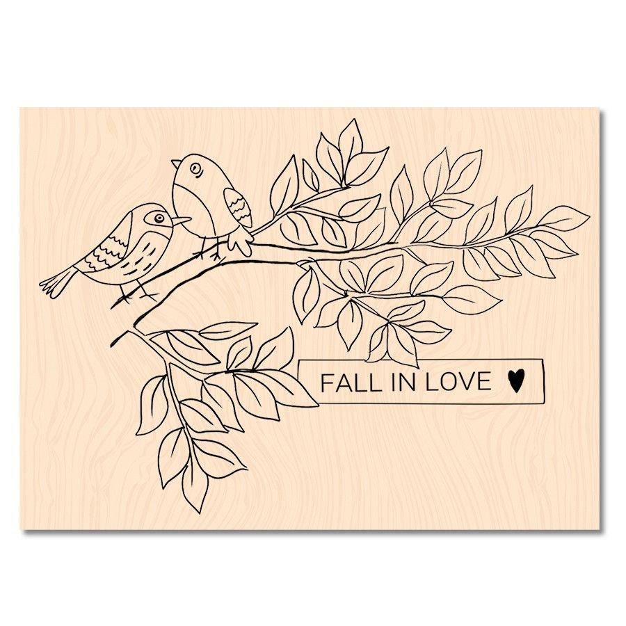 Tampon Bois Fall in love- Les Ateliers de Karine